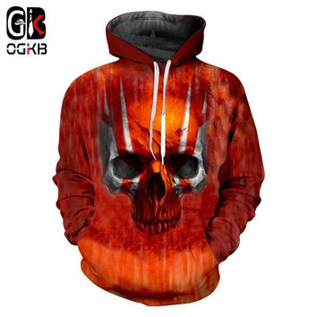 OGKB 3D Red Skull Printed Hoodies Men/women Sweatshirts Hooded Pullover Quality Tracksuits Unisex Coat Gothic Hipster Outwear