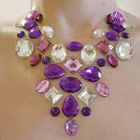 Bright Purple and Crystal Clear Floating Rhinestone Statement Necklace, Unique Illusion Jewellery