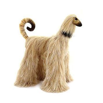 Beige Collectible Afghan Hound Poseable Miniature Cute Plush Art Doll Needle Felted Dog