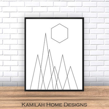 Geometric Print Art, Black and White Print, Abstract Print, Geometric Print, Geometric Artwork, Geometric Black and White Wall Print