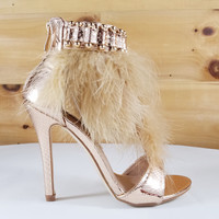 "Suzy 79 T-Strap Feather Sandal Shoes Rose Gold - 4.5"" Heels"