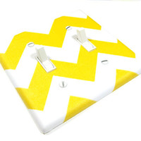 White and Sunshine Yellow Chevron Riley Double by ModernSwitch