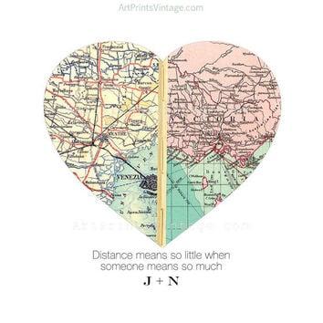 Long Distance Relationship Map Heart Print, Unique Gift for Couples, Custom Map Gift, Personalized Map Art