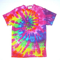ON SALE: Adult Small/ Tie Dye Shirt/ Rainbow Spiral with Pink