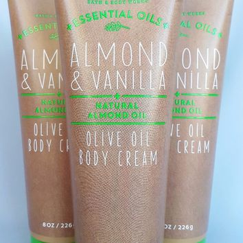 3 PACK Bath & Body Works ALMOND & VANILLA Olive Oil Body Cream 8 oz