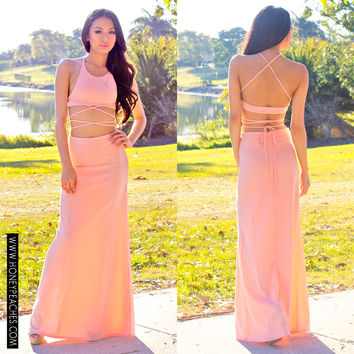 Us Against The World Two-piece Maxi Dress - Peach