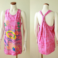 80s/90s - Hot Pink - Tie Dye - Glitter - Novelty - Beach Print - Umbrella - Palm Trees - Ocean - Long Cotton Tank Top - Mini Dress