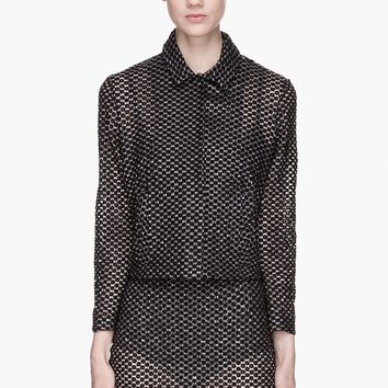 Simone Rocha Sheer And Black Embroidered Little Plastic Daisy Jacket
