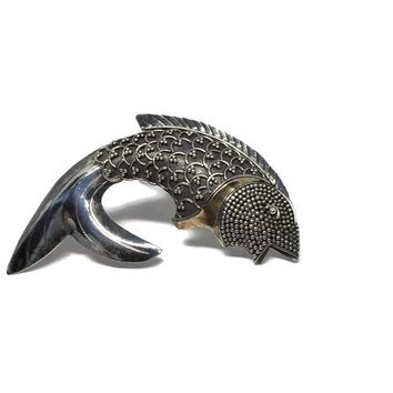 Sterling Silver Fish Brooch, Gift for Pisces Zodiac, Gift for Fisherwoman, Fishing Gift for Woman, Vintage Jewelry Vintage Brooch, Horoscope