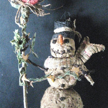 Primitive Snowman OOAK Folk Art-Snowman with Cardinal--Original Design Handmade w/Vintage Quilt Scarf, Bird and Star Garland