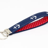 Nautical key fob, fabric keychain wristlet, blue keyring, OOAK key lanyard - white anchors in navy blue with red and white polka dots