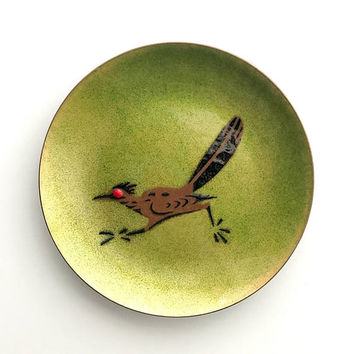 Mid-Century Modern Roadrunner Enamel Dish by AnneMarie Davidson MCM Home Decor Medium Tray Ring Dish Plate