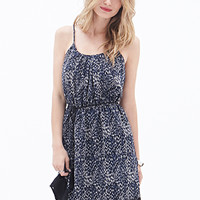 LOVE 21 Abstract Dotted Dress Navy/Cream