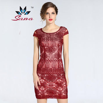 Sana 2016 Women autumn winter Dress Elegant mesh vs embroidery dress 3 colors high quality Slim bodycon XXL vestido desigual