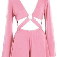 Paris Hilton Cut Front Ring Detail Playsuit | Boohoo