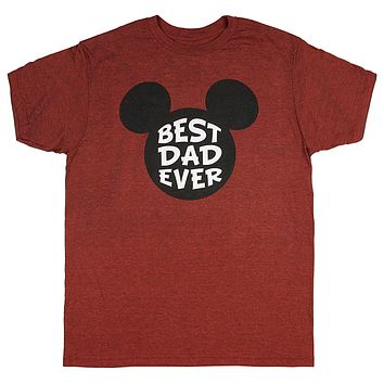 Disney Men's Mickey Mouse Best Dad Ever Distressed Design T-Shirt