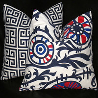 """Accent Pillows Navy, Red, Natural set of Two 20x20 inch Pillow Covers 20"""" Dark Blue Greek Key, Suzani PREMIER PRINTS 20"""""""