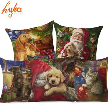 Christmas Gift Dog Cushion Cover Cotton Linen Santa Claus Pet Home Decorative Pillows Cover for Sofa