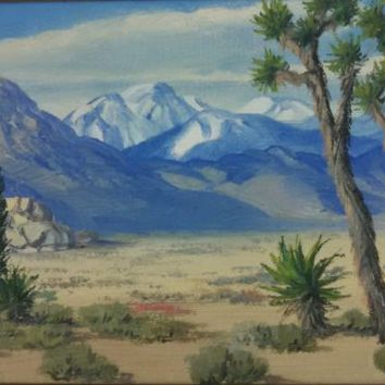 "M. D. Dolph, American impressionism ""The Joshua Tree"" , desert landscape, oil"