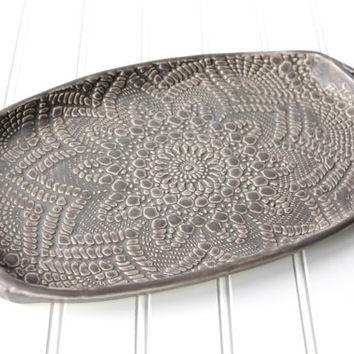 New! Charcoal Pottery Tray - Deep Gray Lace - Ceramic Appetizer Plate - Serving Tray