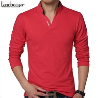 Solid Color Long Sleeve Slim Fit T Shirt Men