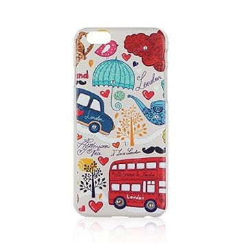 Love London Theme Painting Hard Cases for Apple Iphone 6 Plus 5.5 Inch Screen- Beautiful Amazing Plastic Case with Bling Bling Rhinestone- Easy to Use - Make Your Phone More Fashion More Lovely