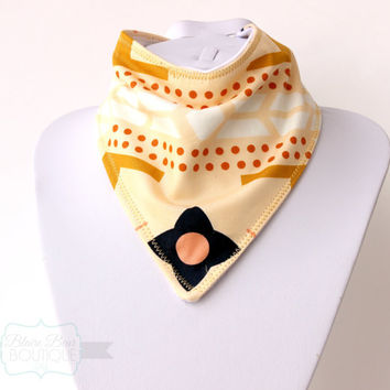 Bandana Bib for Baby - Bibdana - Dribble Bib - Drool Bib - Scarf Bib - Gold Arizona Print