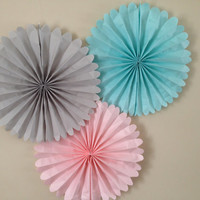 Set of 5 Tissue paper Fans // nursery decor // 5 pomwheels // custom pinwheels // childrens birthday //  party decorations //classroom