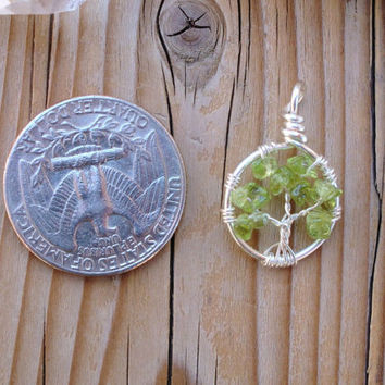 Peridot Tree of Life Charm - Made to Order - Silver Plated Copper - Tree of Life Jewelry