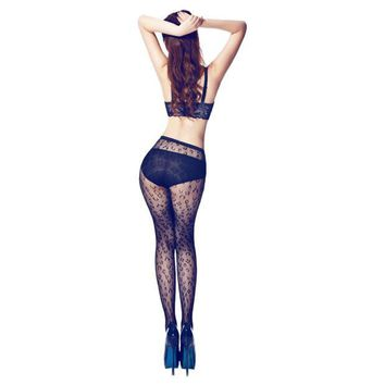 Women Black Sexy Fishnet Pattern Jacquard Stockings Pantyhose Tights
