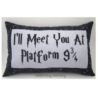 Harry Potter Cross Stitch Pillow, Black and Gray Pillow, I'll Meet You At Platform 9 3/4