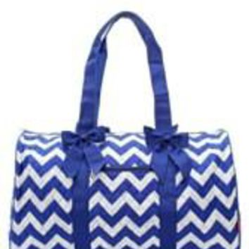 Chevron Print Quilted Duffel Bag