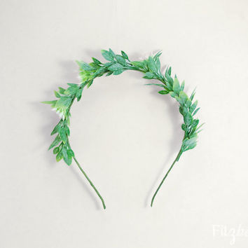 Green leaf head crown - Woodland goddess hair crown - Leafy hairpiece for women - Green leaf adult headband - Grecian goddess hair crown