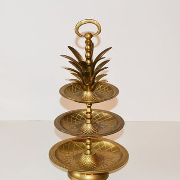 Vintage Hollywood Regency Brass Pineapple Tray 3 Tier Tidbit Server