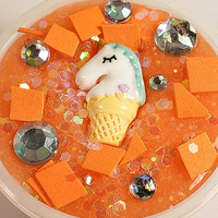 Scented Unicorn Slime like Orange Popsicle with Glitter so Sparkly and Orange Scented Slime with Charms