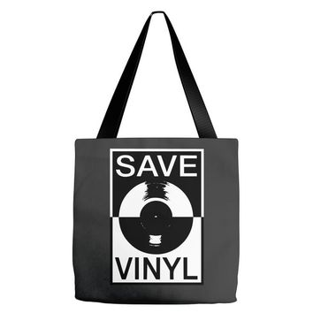 save the vinyl Tote Bags