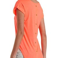 Back Button-Up Basic Tee by Charlotte Russe
