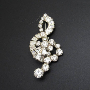 Rhinestone Brooch Treble Clef Vintage Jewelry Music Themed P8057