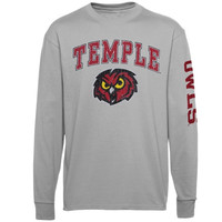Temple Owls Youth Distressed Arch & Logo Long Sleeve T-Shirt – Gray - http://www.shareasale.com/m-pr.cfm?merchantID=7124&userID=1042934&productID=554816469 / Temple Owls