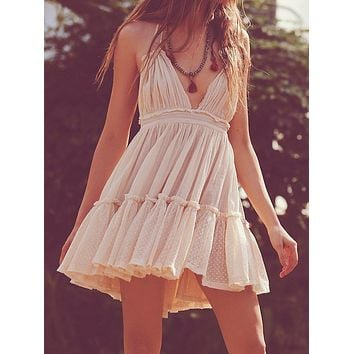 Boho Chic Backless Short Ruffle Dress (5 Colors)