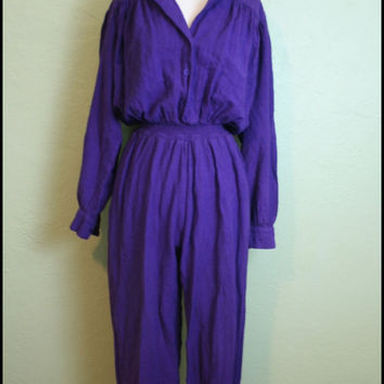 Vintage '80s Purple Jump Suit// '80s Onesuit//  S by StoriesForBoys