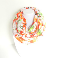 Floral Scarf, Spring Infinity Scarf, Colorful Scarf, Bright Scarf, Lightweight Scarf, Wide Width, Orange Scarf