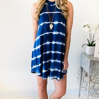 Tie-Dye For Navy Tank Dress