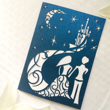 Fairy tale starry night cut wedding invitation blue night with moon bride and groom DIY castle