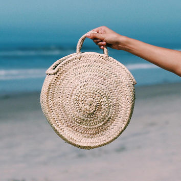 Small Round Straw Bag - Handmade Round straw basket, Straw Summer Tote, Round French Market basket bag, Round beach basket, Straw Beach bag
