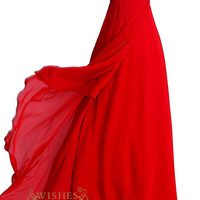 A-line Red Simple Bridesmaid Dresses With Ruching Bodice Formal Gown / Prom Dresses Am24