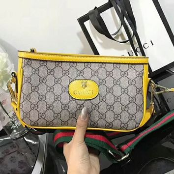 Gucci Women Leather Shoulder Bag Camera bag B-AGG-CZDL Yellow
