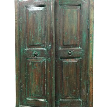 Antique Rustic Reclaimed Wood Chest Armoire Green Cabinet Storage