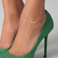 Love Anklet, Anklets, Gold Plated Anklet, Accessories