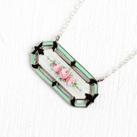 Guilloché Enamel Necklace - Antique Art Deco Sterling Silver Floral Enamel Bar Pendant - Vintage 1920s Era Rose Flower Conversion Jewelry